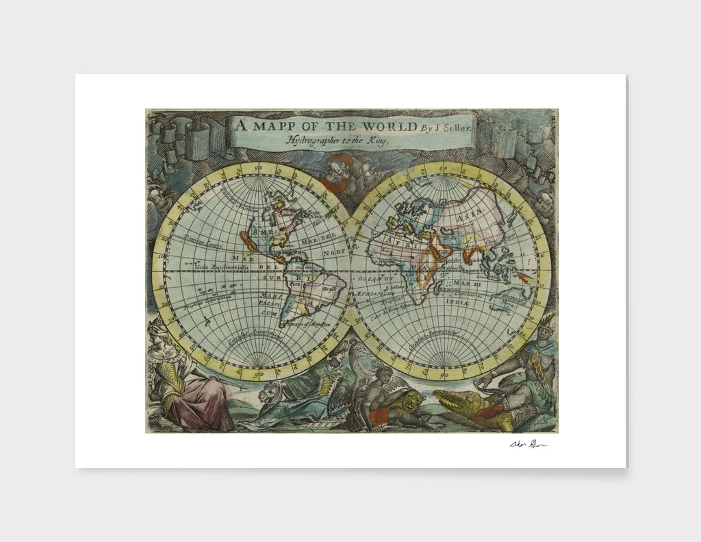 Vintage Map of The World (1682)