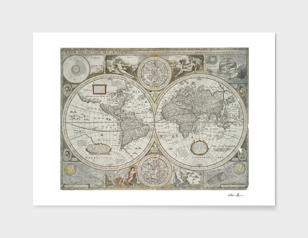 Vintage Map of The World (1651)