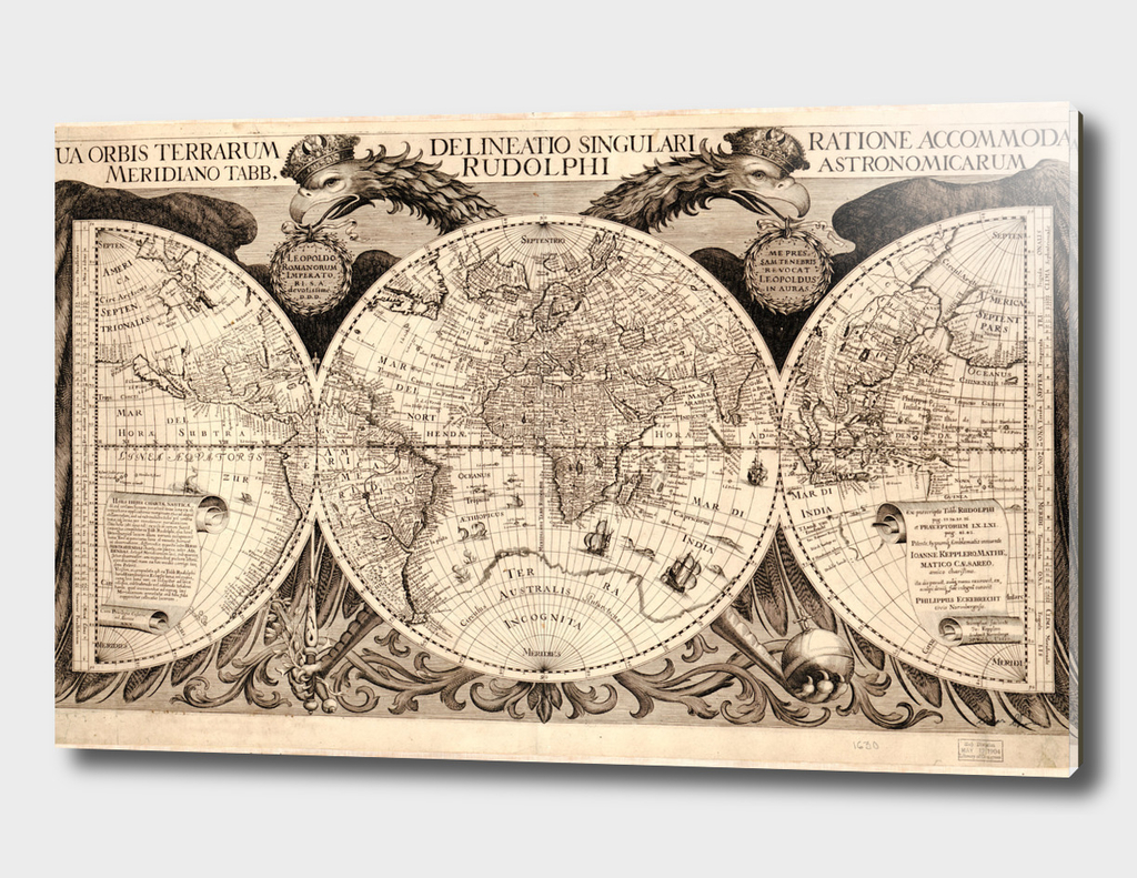 Vintage Map of The World (1630)