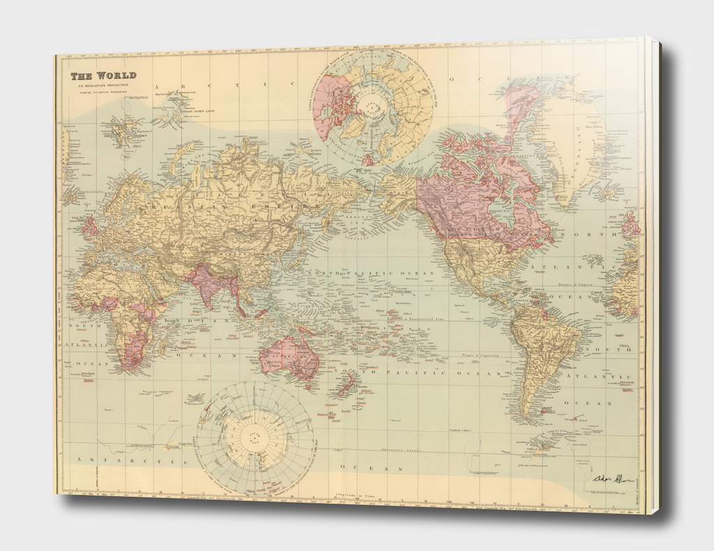 Vintage Map of The World (1901) 2