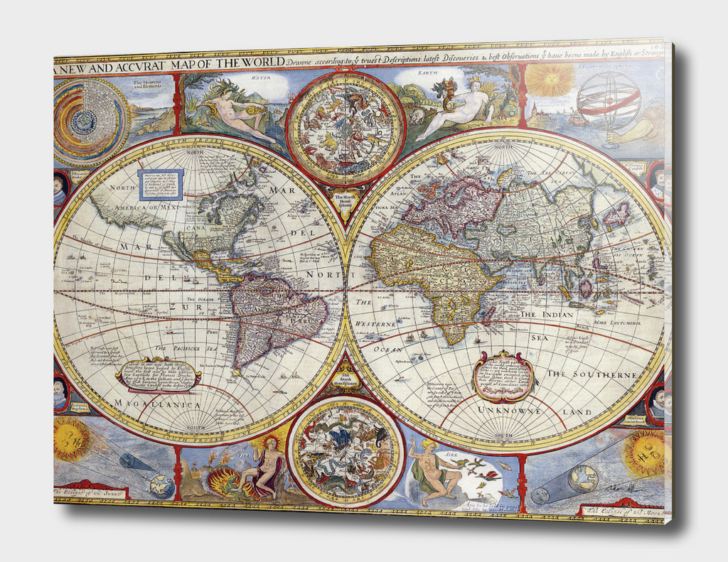 Vintage Map of The World (1626)