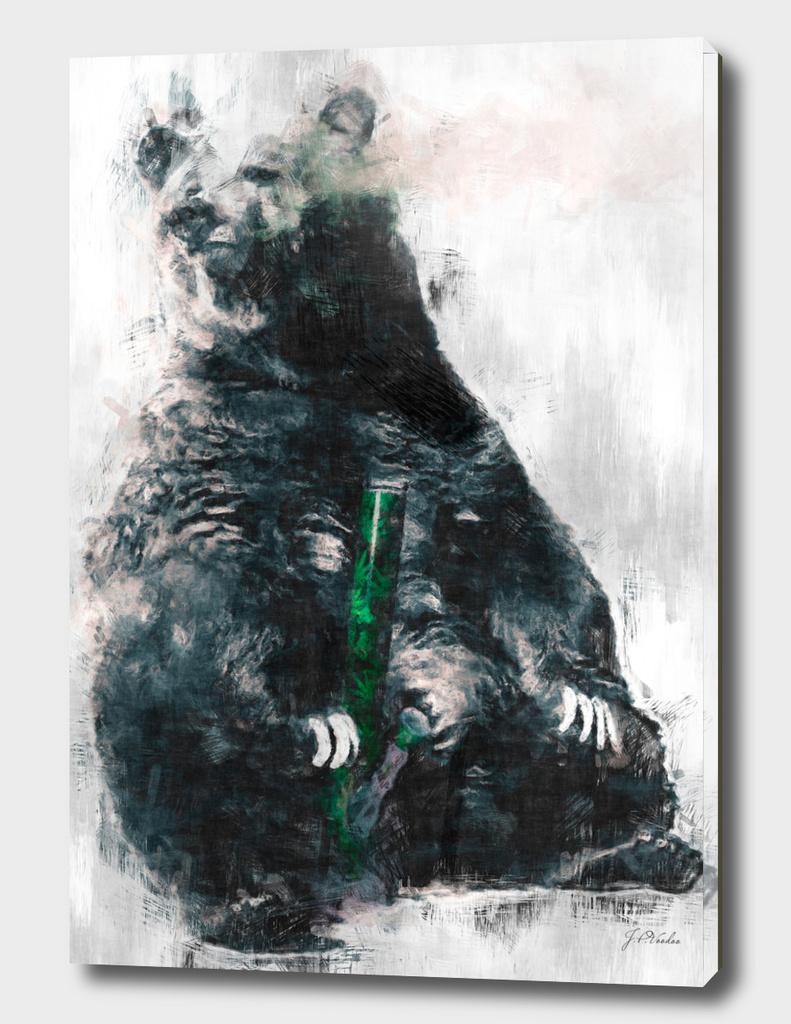 Bear get high with bong