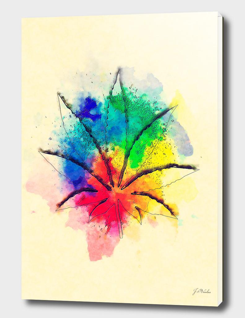 Cannabis watercolor painting