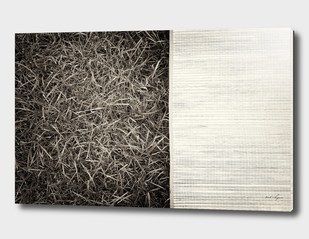 Vintage grass with yoga mat