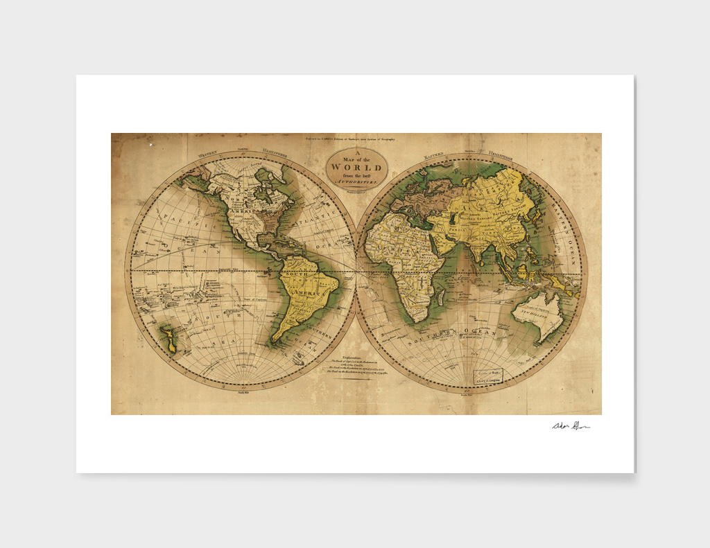 Vintage Map of World (1795) 3