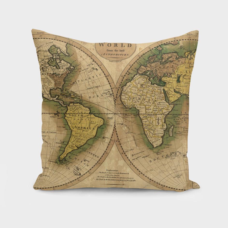 Vintage Map of World (1795) 3