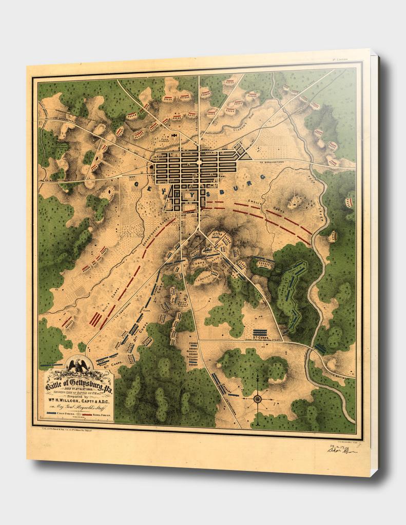 Vintage Battle of Gettysburg Map (1863)