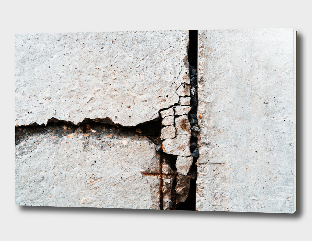 Dramatic crack in concrete wall