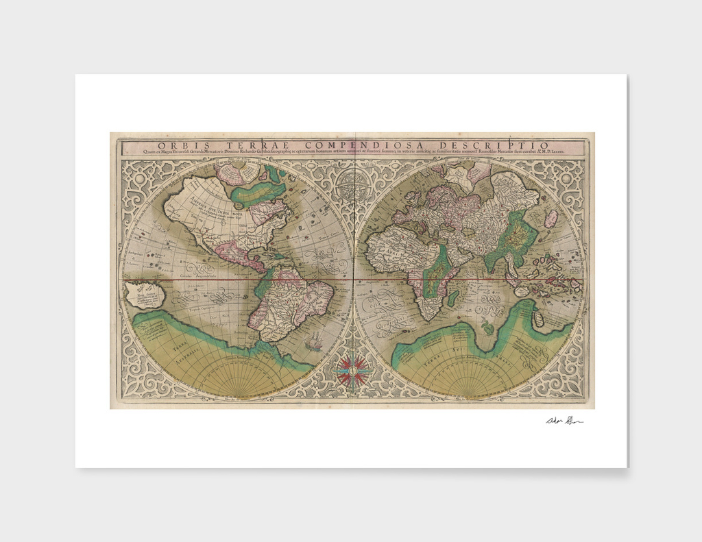 Vintage Map of The World (1607)