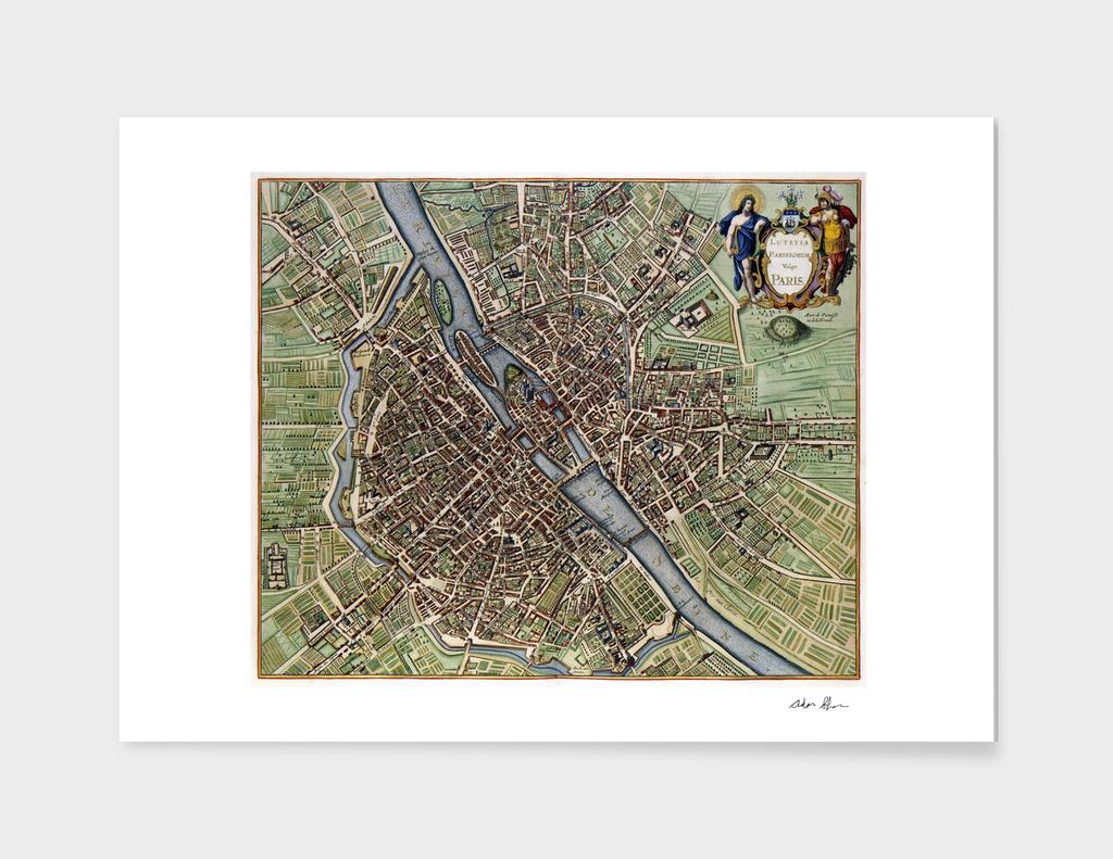 Vintage Map of Paris France (1657)