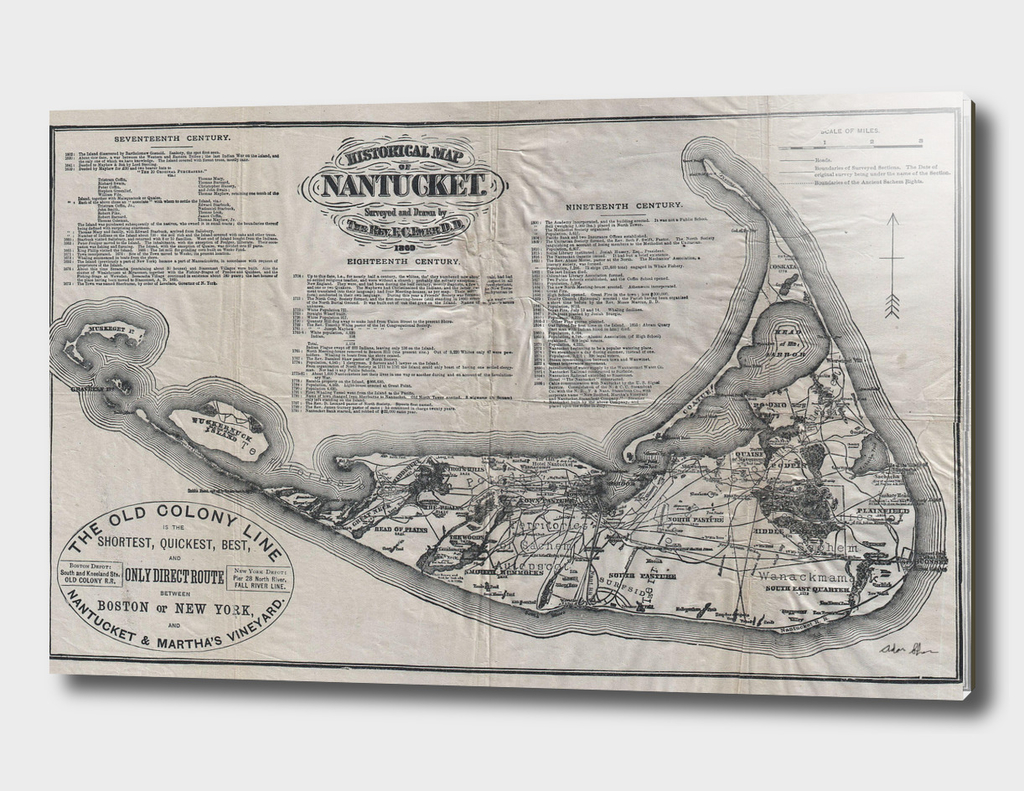 Vintage Map of Nantucket (1889)