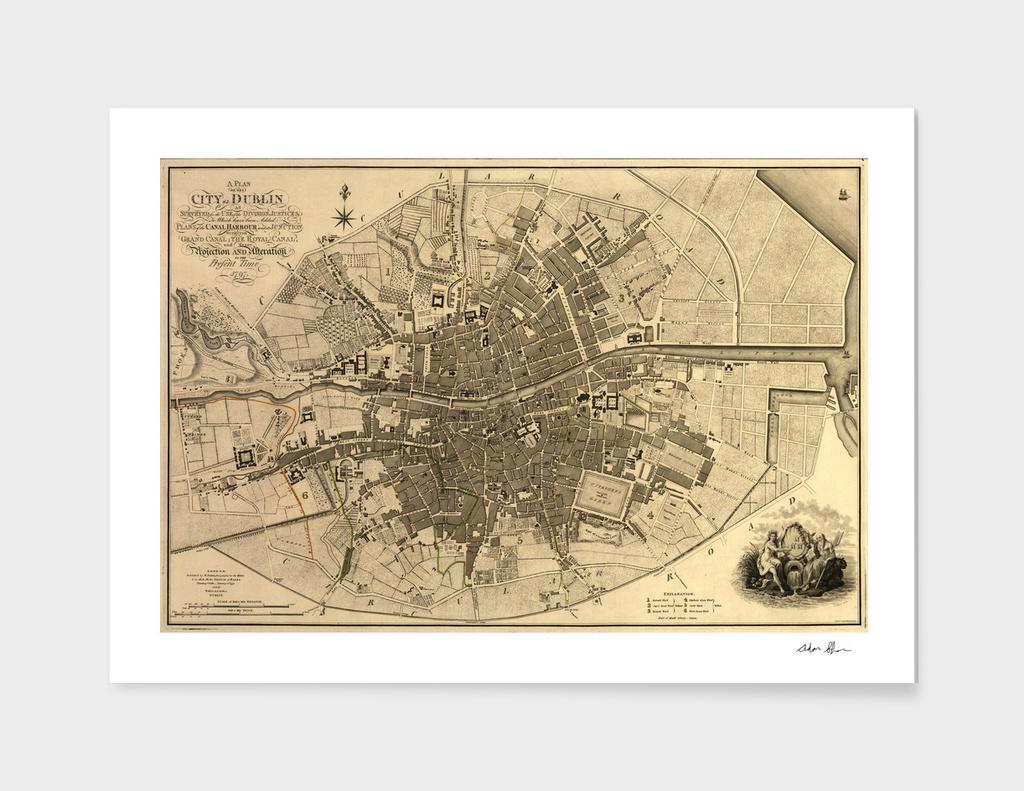 Vintage Map of Dublin Ireland (1797)