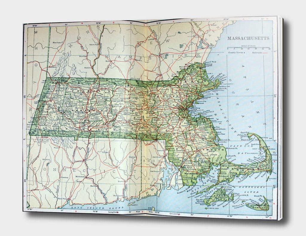 Vintage Map of Massachusetts (1905)