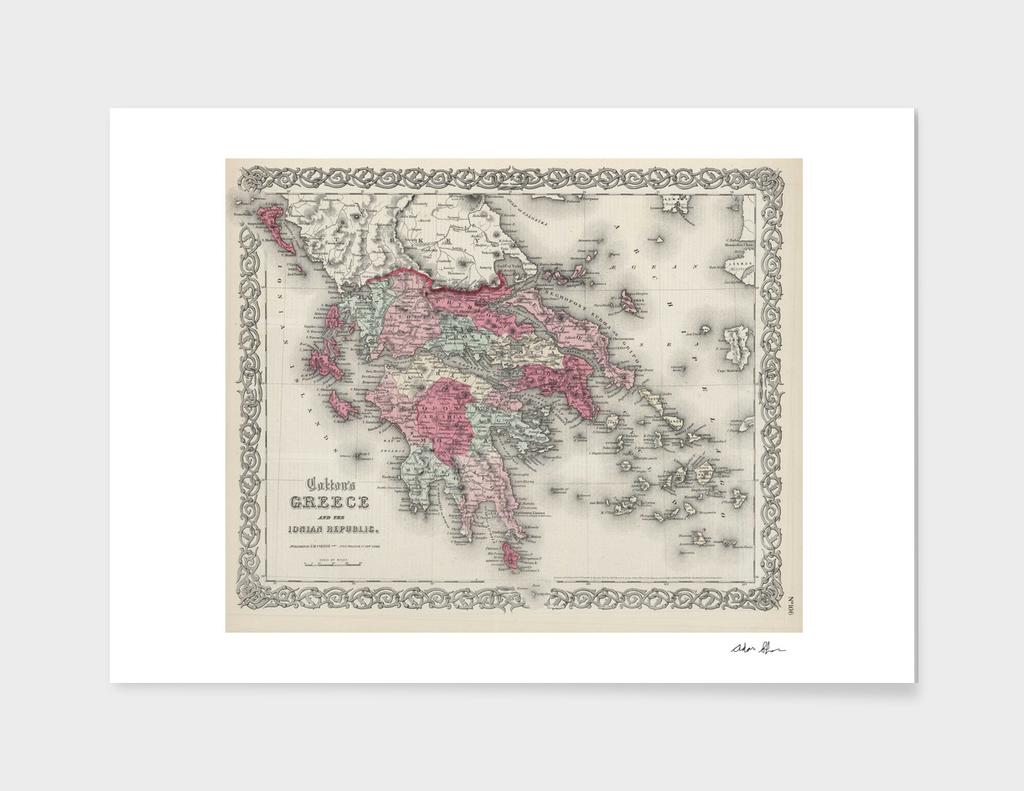 Vintage Map of Greece (1865)