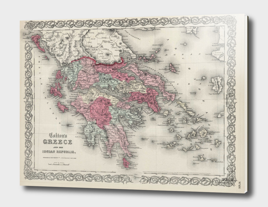 Vintage Map of Greece (1865)