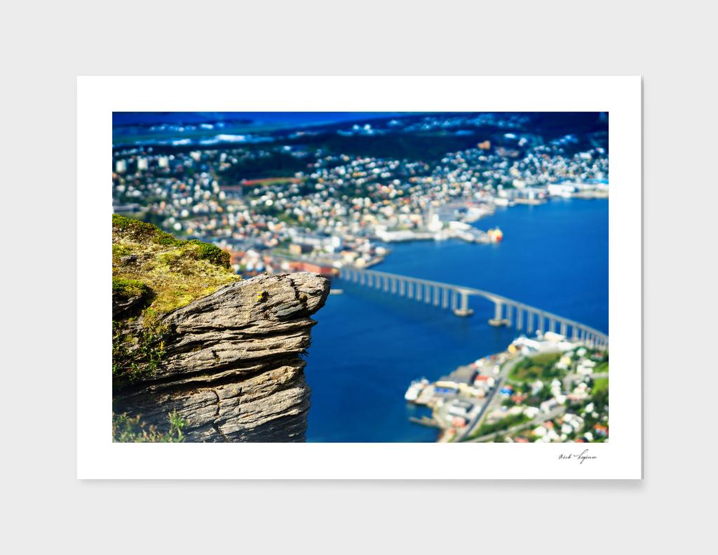 High altitude view on dramatic bridge