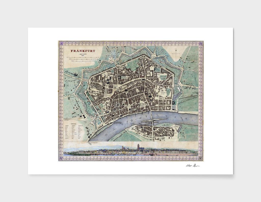 Vintage Map of Frankfurt Germany (1845)