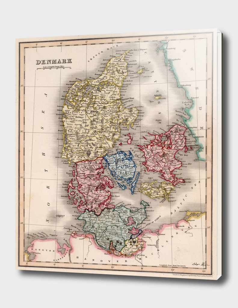 Vintage Map of Denmark (1832)
