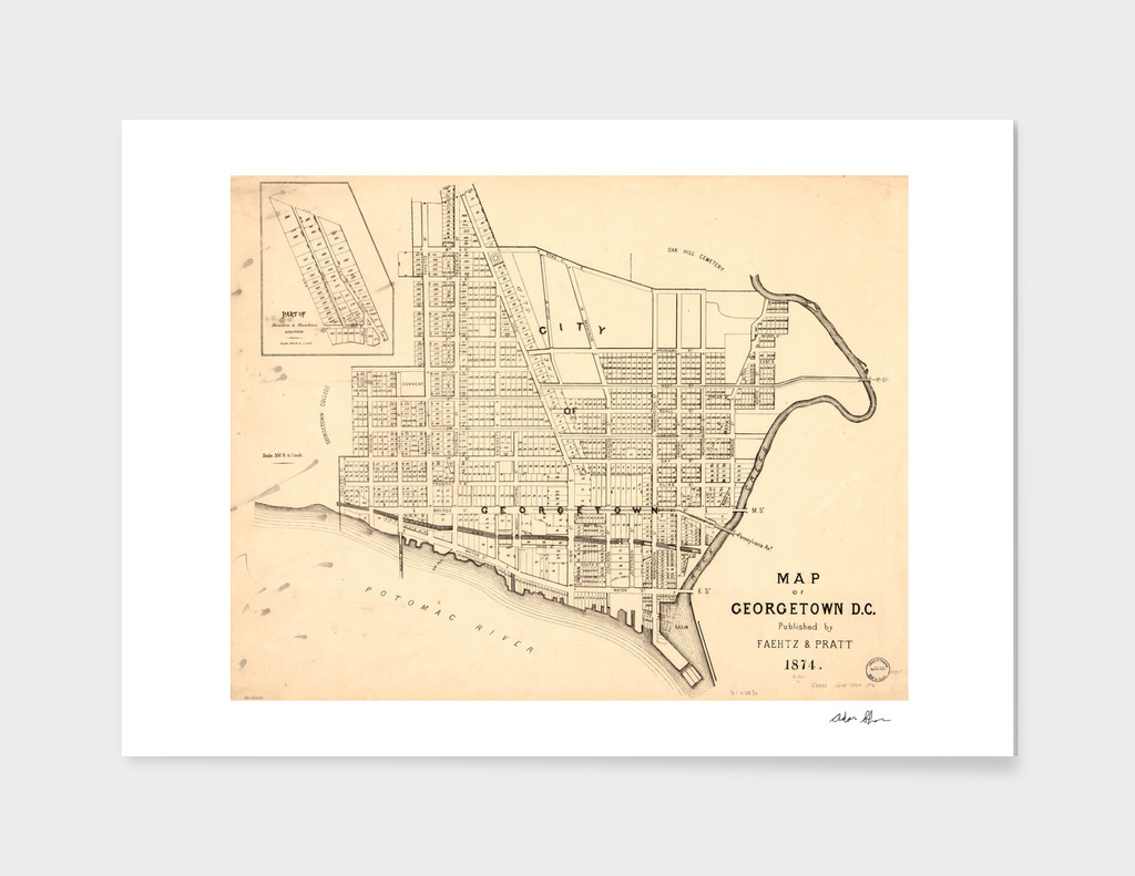Vintage Map of Georgetown In Washington DC (1874)