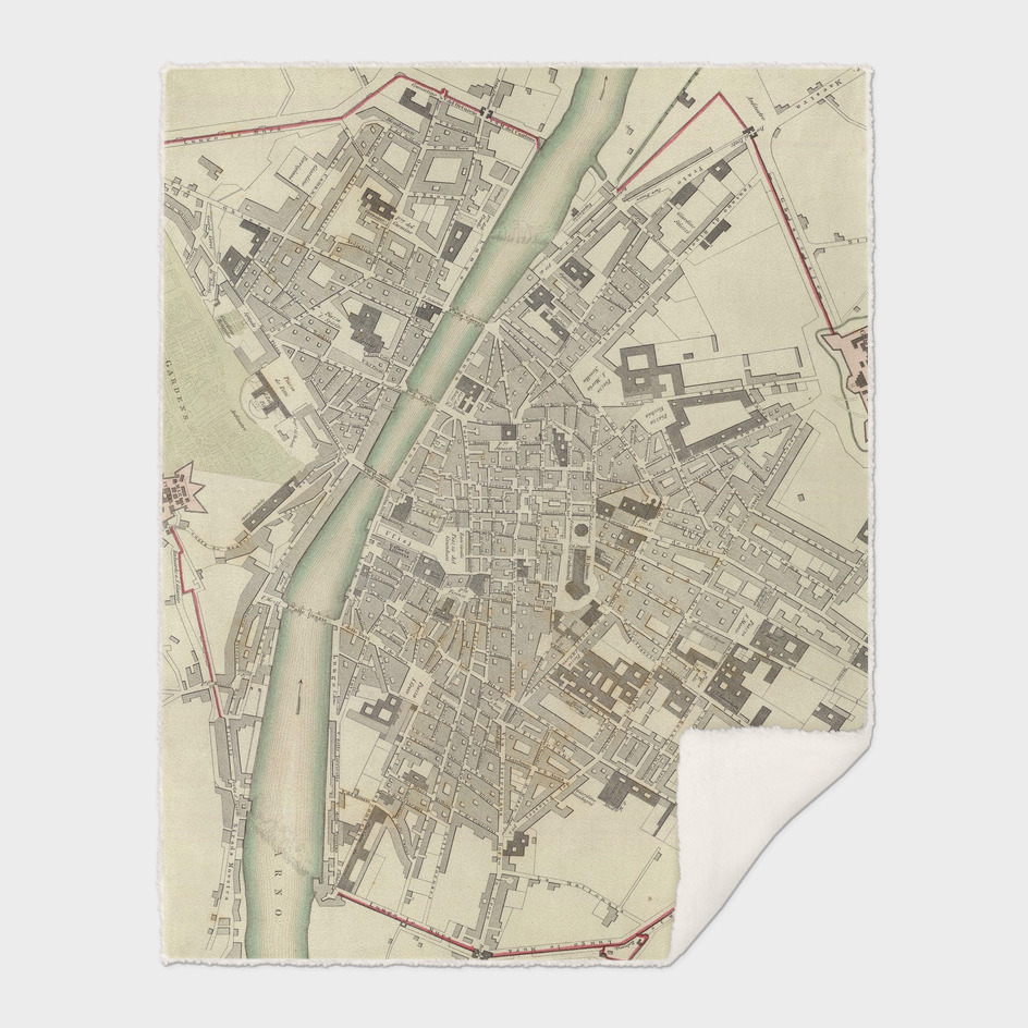 Vintage Map of Florence Italy (1835)