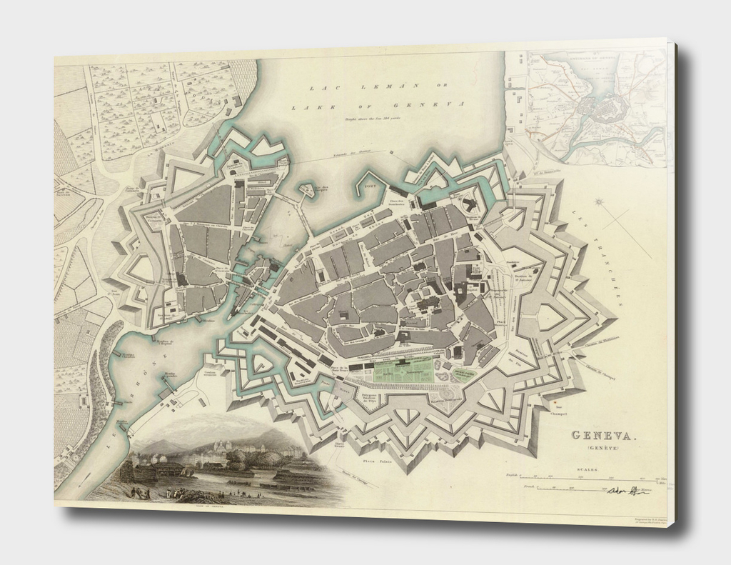 Vintage Map of Geneva Switzerland (1841)