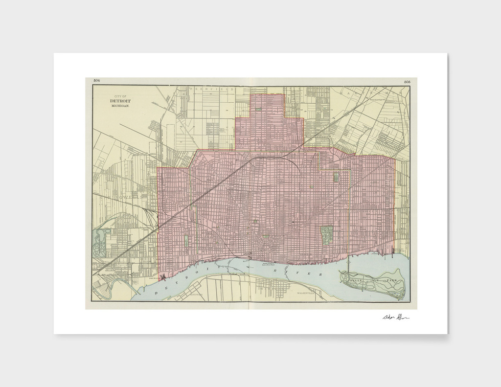 Vintage Map of Detroit Michigan (1901)