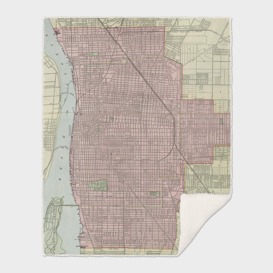Vintage Map of Detroit Michigan (1901)