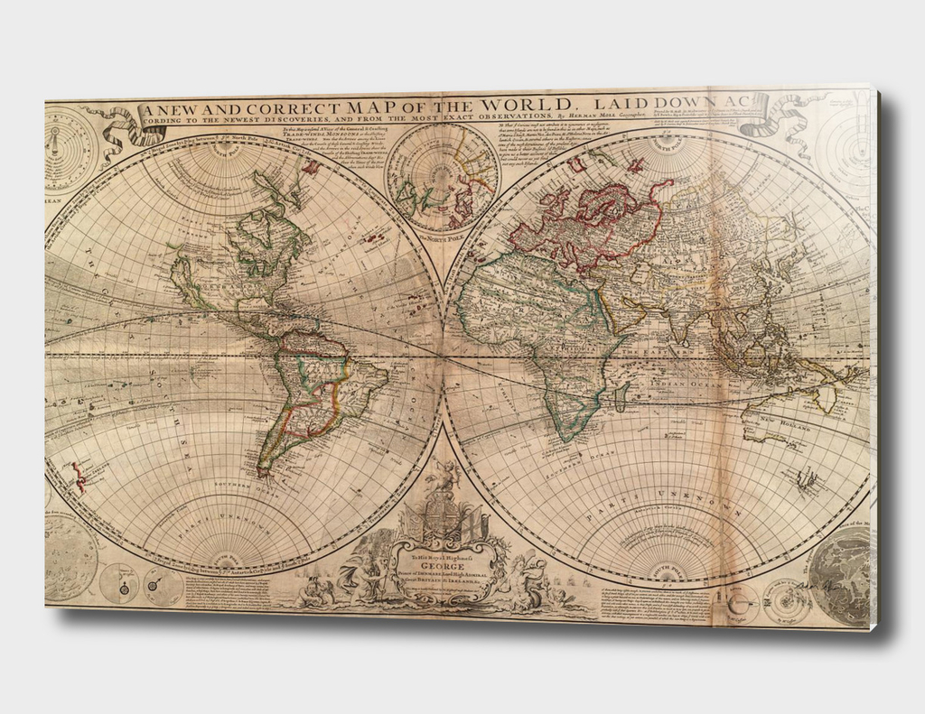 Vintage Map of The World (1709)