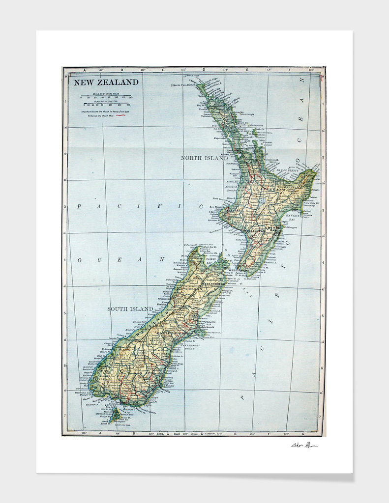 Vintage Map of New Zealand (1921)