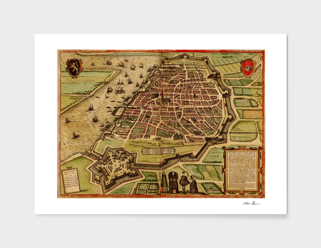 Vintage Map of Antwerp Belgium (1572)