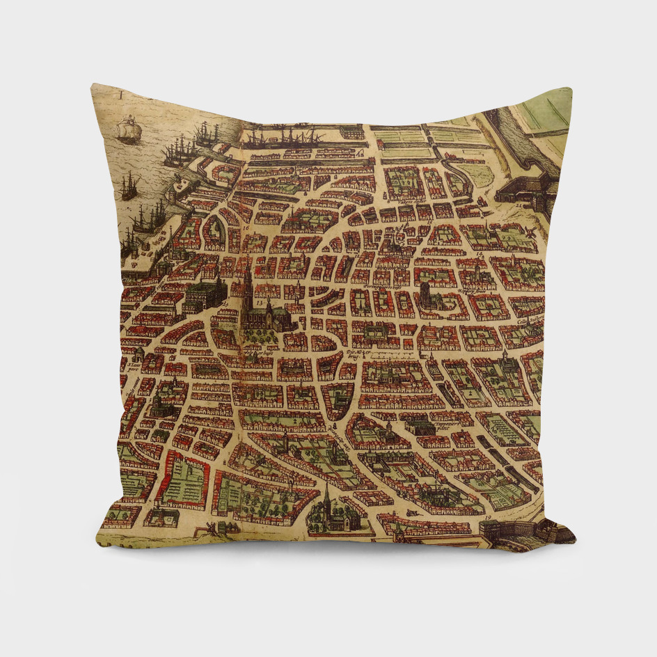 Vintage Map of Antwerp Belgium (1572)