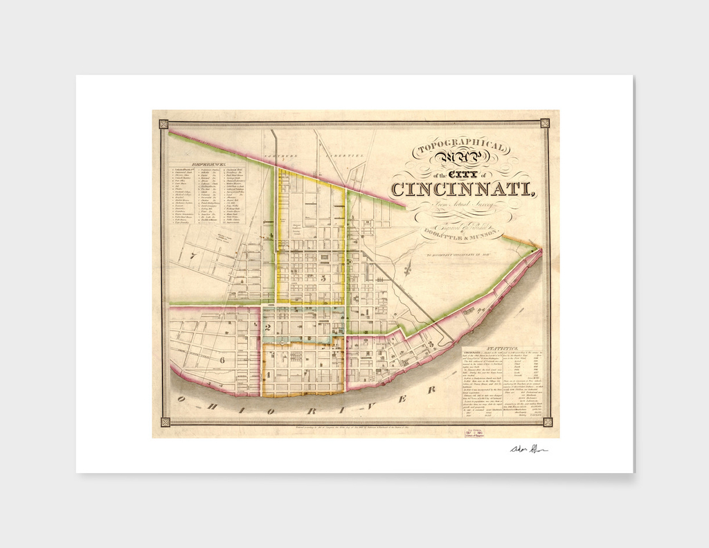 Vintage Map of Cincinnati Ohio (1841)