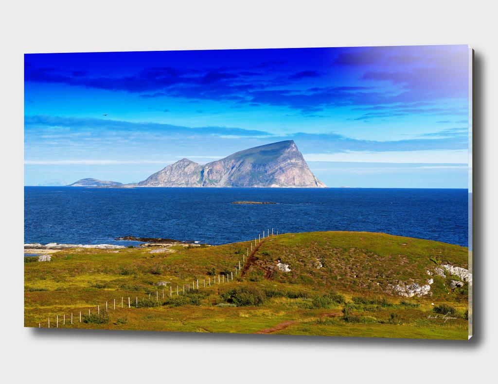 Mountain island landscape