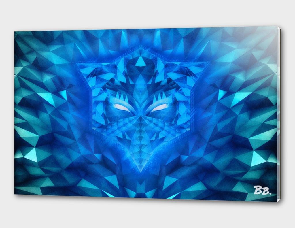 Deep Ice Blue Sub Zero Transformers Wolf Mask Portait
