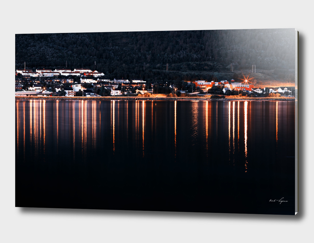 Reflections of evening Norwegian town