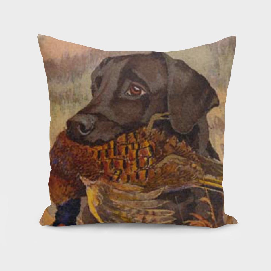 Chocolate Labrador Retriever Hunting Painting