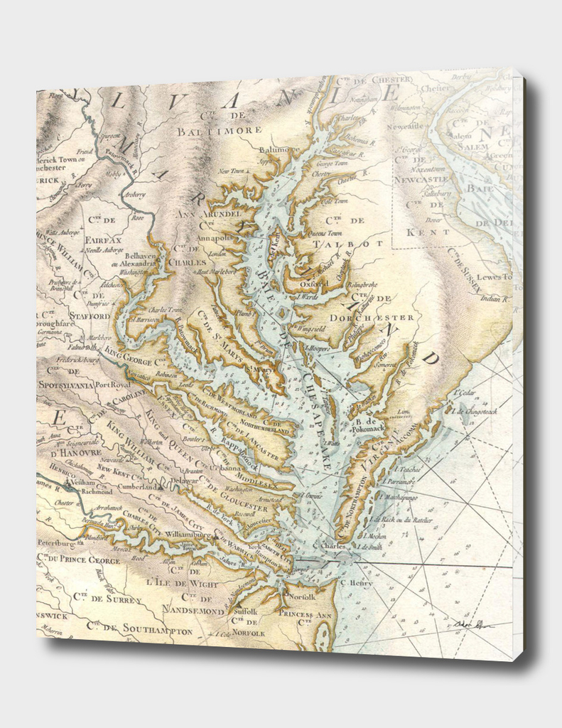 Vintage Map of The Chesapeake Bay (1778)