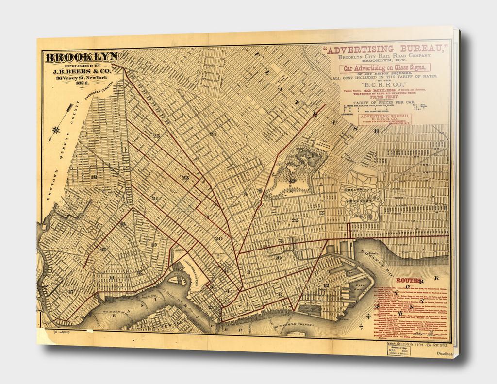 Vintage Map of Brooklyn New York (1874)
