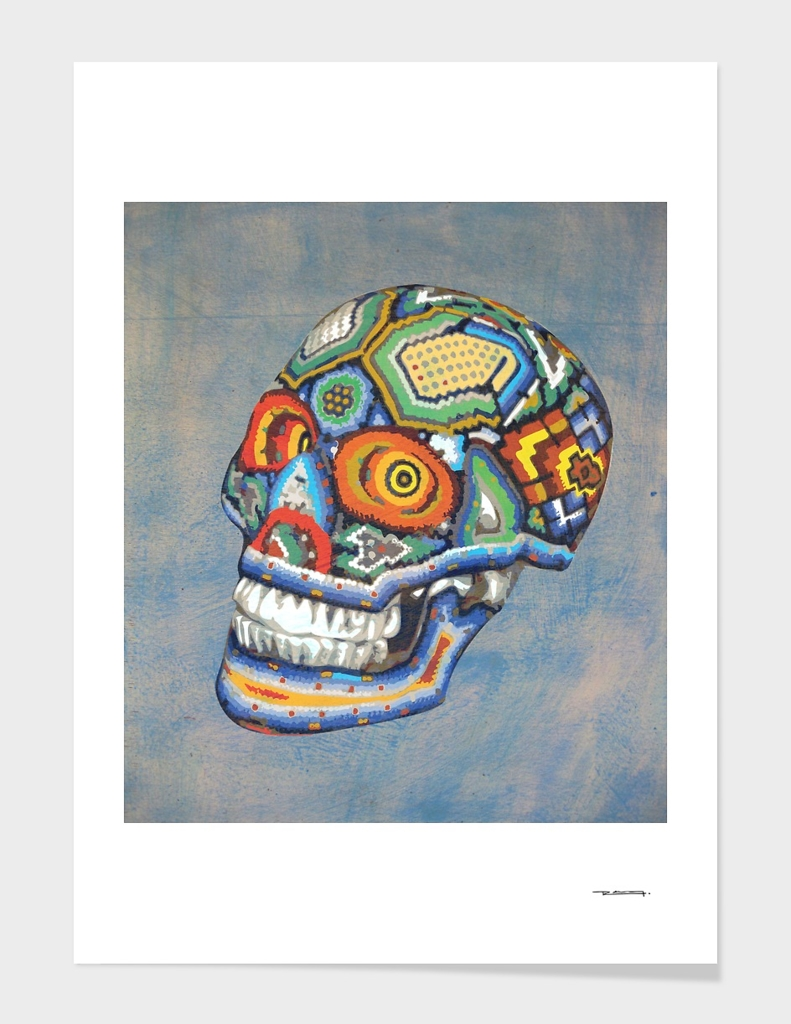 Huichol skull illustration