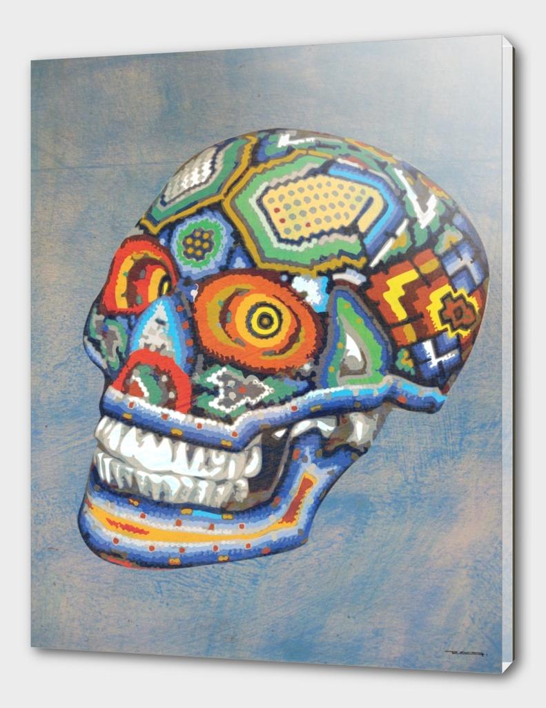 Huichol skull illustration