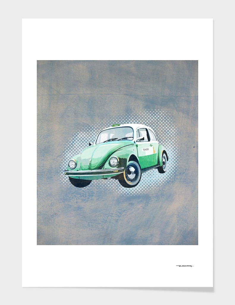 Beetle vocho retro taxi illustration