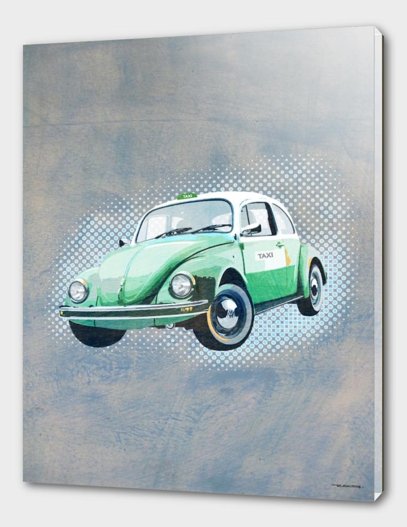 Beetle vocho retro taxi illustration