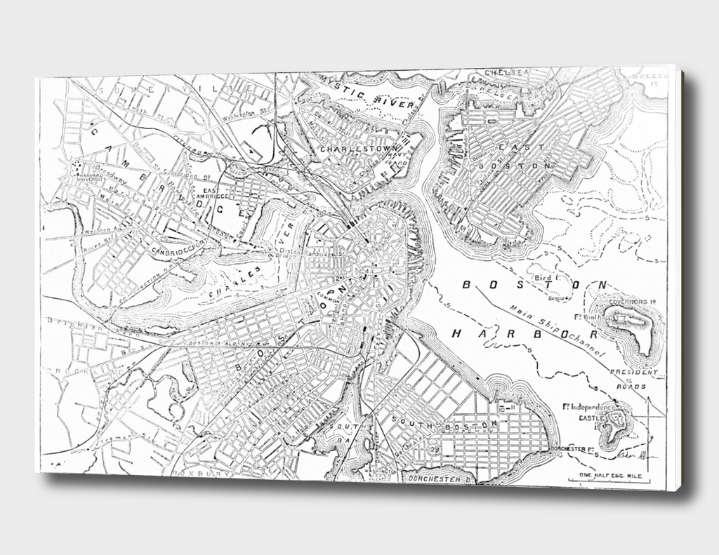 Vintage Map of Boston Massachusetts (1878)