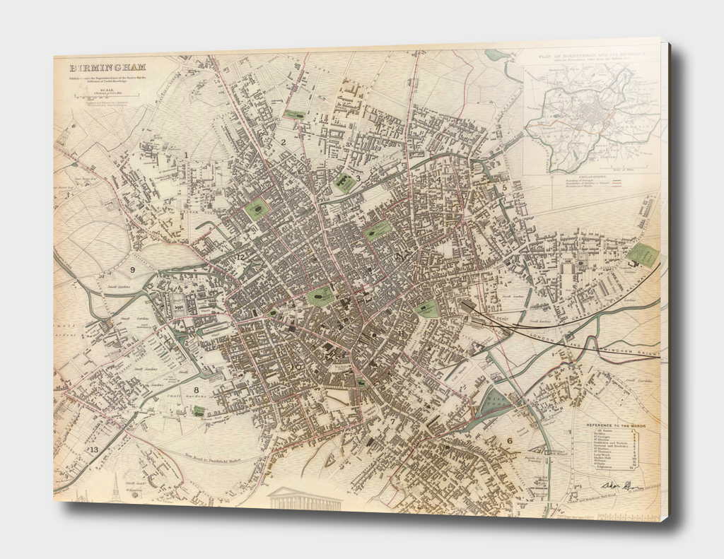 Vintage Map of Birminham England (1839)