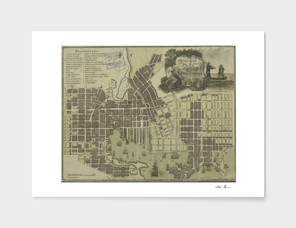 Vintage Map of Baltimore Maryland (1805)