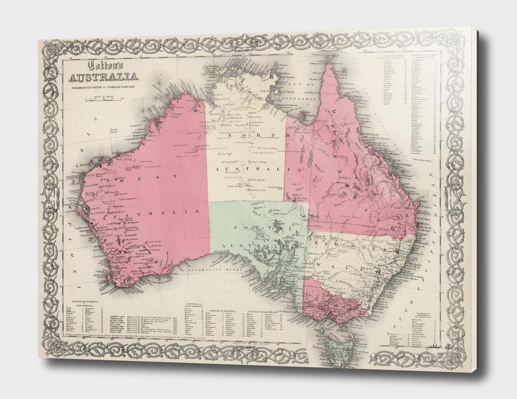 Vintage Map of Australia (1865)