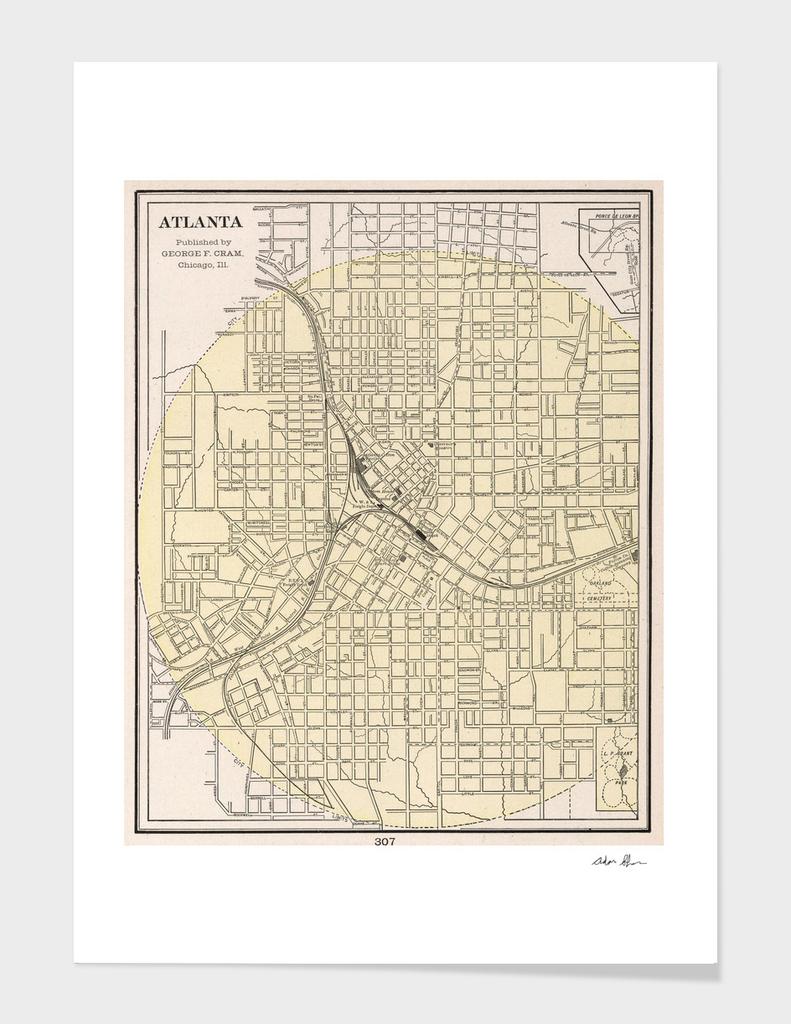 Vintage Map of Atlanta Georgia (1901)