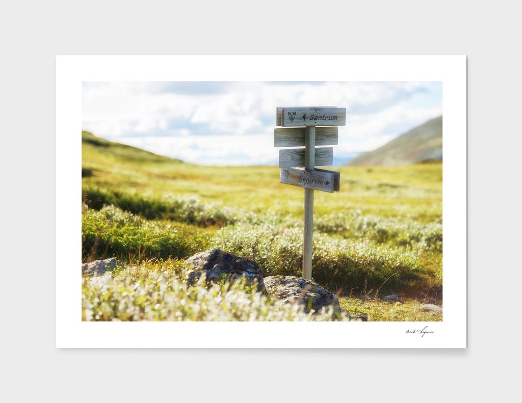 Sentrum sign in mountains