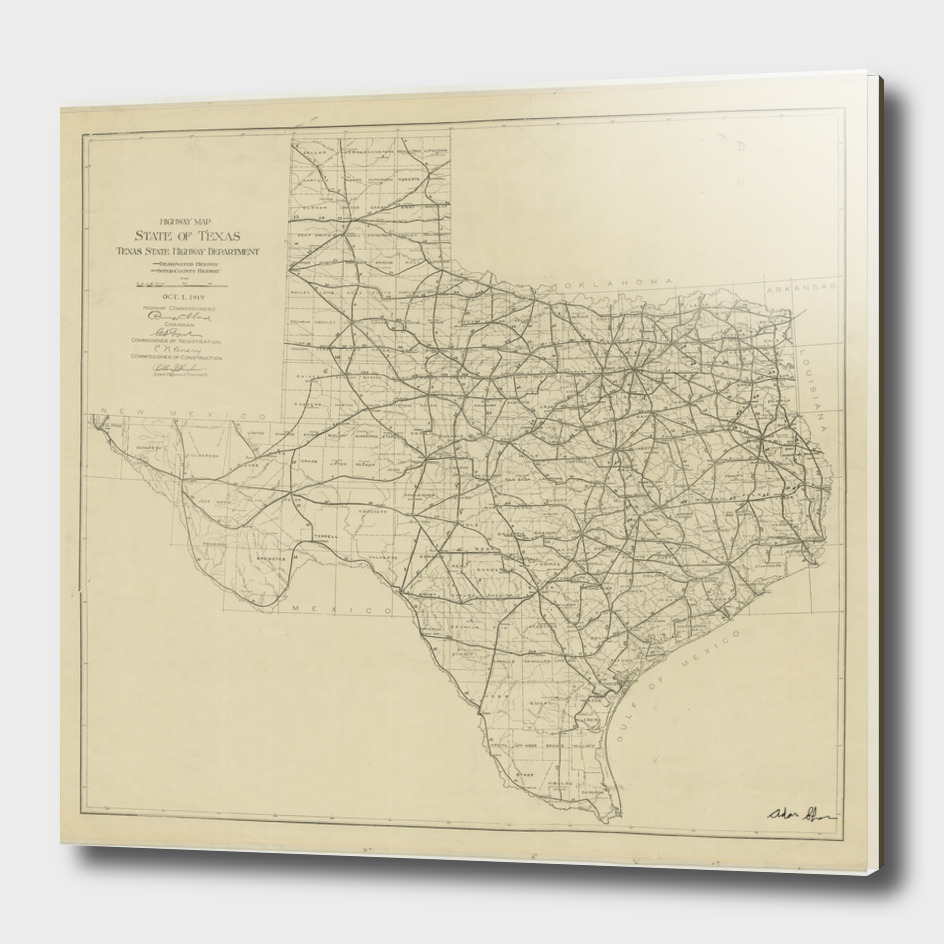 Vintage Map of Texas (1919)