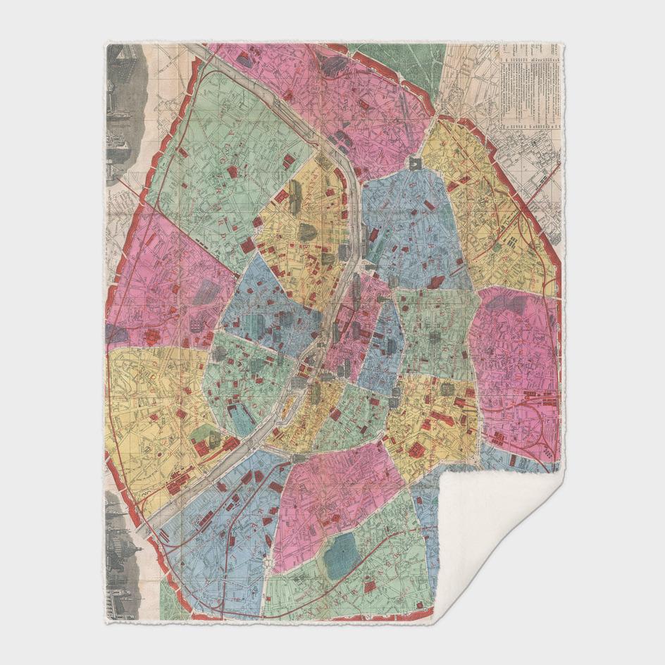 Vintage Map of Paris France (1889)